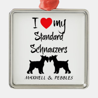 I Love My Standard Schnauzer Dogs Silver-Colored Square Ornament
