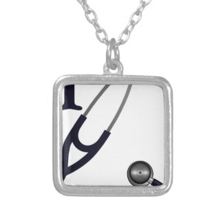 I Love My Stethoscope - Blue Silver Plated Necklace