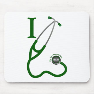 I Love My Stethoscope - Green Mouse Pad