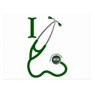 I Love My Stethoscope - Green Postcard