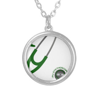 I Love My Stethoscope - Green Silver Plated Necklace