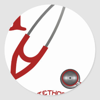 I Love My Stethoscope - Red Classic Round Sticker