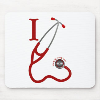 I Love My Stethoscope - Red Mouse Pad
