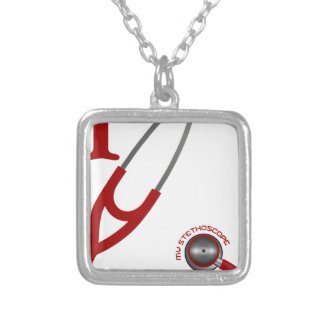 I Love My Stethoscope - Red Silver Plated Necklace