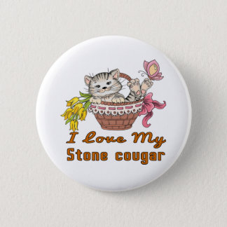 I Love My Stone cougar 2 Inch Round Button