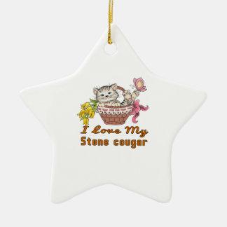 I Love My Stone cougar Ceramic Ornament