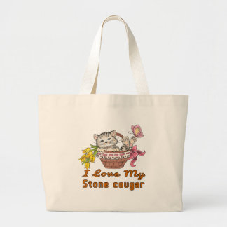 I Love My Stone cougar Large Tote Bag