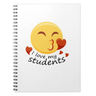 I love my students Teacher Emoji Funnys Notebook