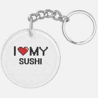 I Love My Sushi Digital design Double-Sided Round Acrylic Keychain