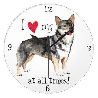 I Love my Swedish Vallhund Large Clock