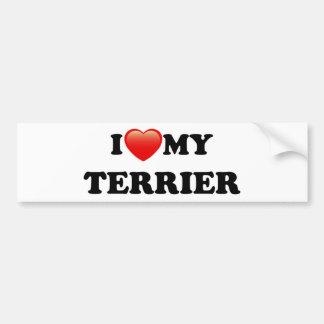 I LOVE MY TERRIER BUMPER STICKER