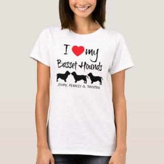 I Love My Three Basset Hound Dogs T-Shirt