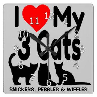 I Love My Three Cats Square Wall Clock