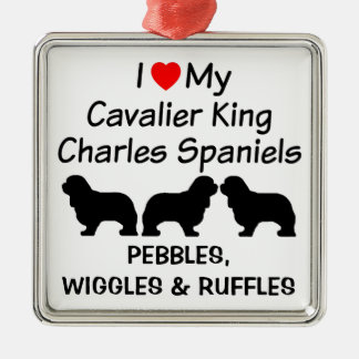 I Love My Three Cavalier King Charles Spaniel Dogs Metal Ornament