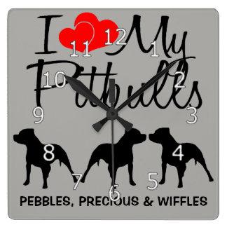 I Love My THREE Pitbulls Square Wall Clock