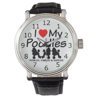 I Love My THREE Poodle Dogs Watch