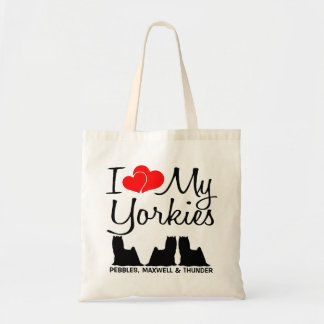 I Love My THREE Yorkies Tote Bag