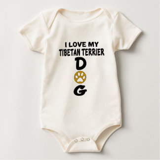 I Love My Tibetan Terrier Dog Designs Baby Bodysuit