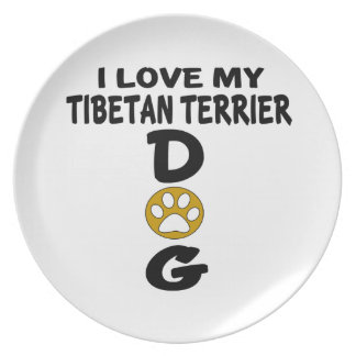 I Love My Tibetan Terrier Dog Designs Party Plates