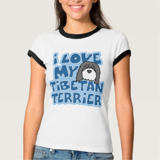 I Love My Tibetan Terrier Ladies Ringer TShirt