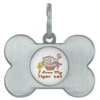 I Love My Tiger cat Pet Name Tag