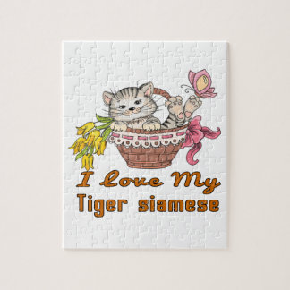 I Love My Tiger siamese Jigsaw Puzzle