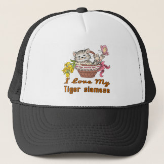 I Love My Tiger siamese Trucker Hat