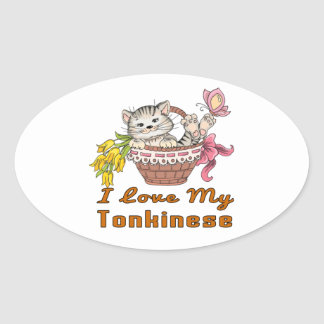I Love My Tonkinese Oval Sticker