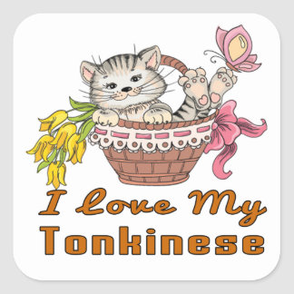 I Love My Tonkinese Square Sticker