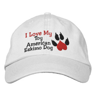 I Love My Toy American Eskimo Dog Paw Print Embroidered Baseball Caps