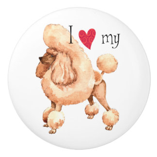 I Love my Toy Poodle Ceramic Knob