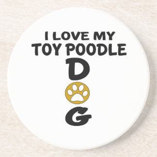 I Love My Toy Poodle Dog Designs Drink Coasters