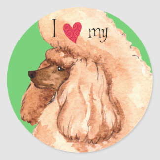I Love my Toy Poodle Round Sticker