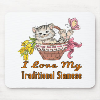 I Love My Traditional Siamese Mouse Pad