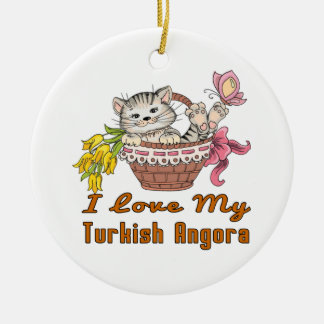 I Love My Turkish Angora Ceramic Ornament
