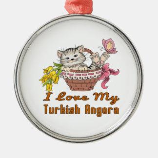 I Love My Turkish Angora Metal Ornament