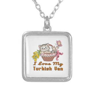 I Love My Turkish Van Silver Plated Necklace