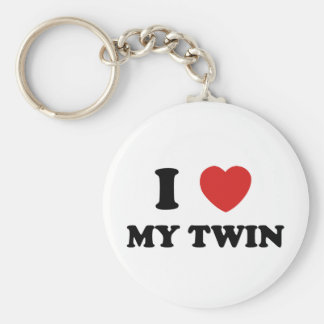 I Love My Twin Basic Round Button Keychain