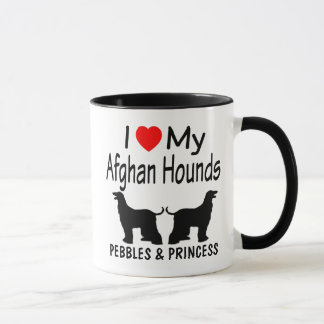 I Love My TWO Afghan Hound Dogs Mug
