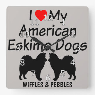 I Love My Two American Eskimo Dogs Square Wall Clock