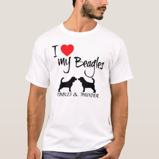 I Love My Two Beagle Dogs T-Shirt