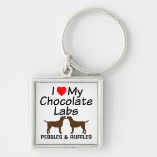 I Love My Two Chocolate Lab Dogs Keychain