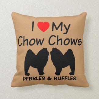 I Love My Two Chow Chow Dogs Throw Pillow