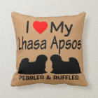 I Love My Two Lhasa Apso Dogs Pillow