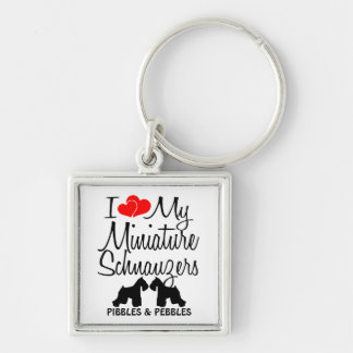 I Love My TWO Miniature Schnauzers Keychain