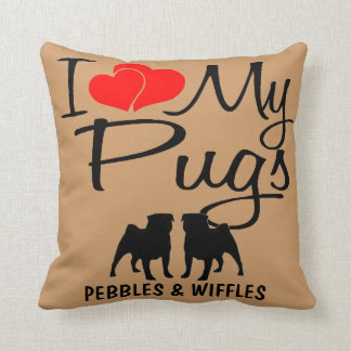 I Love My TWO Pugs Throw Pillow