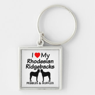 I Love My Two Rhodesian Ridgebacks Dogs Keychain