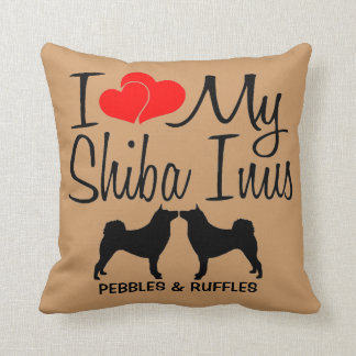 I Love My TWO Shiba Inu Dogs Throw Pillow