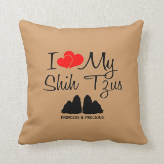 I Love My Two Shih Tzu Dogs Throw Pillow