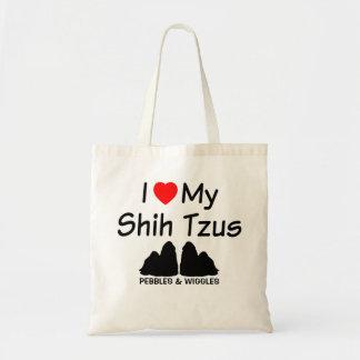 I Love My TWO Shih Tzu Dogs Tote Bag
